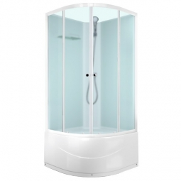 Душевая кабина Domani Spa Eko Delight high 99 без крыши 900х900х2040 сатин матированное стекло, белая панель