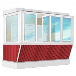 Остекление балкона ПВХ Rehau с выносом и отделкой вагонкой с утеплением 3.2 м П-образное