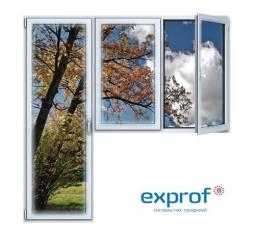 Балконный блок ПВХ Exprof 2100х2100 мм 2-ЛГ-ПП 2 стеклопакет