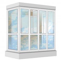 Остекление балкона ПВХ Exprof в пол с отделкой ПВХ-панелями с утеплением 2.4 м П-образное