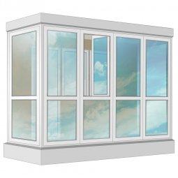 Остекление балкона ПВХ Rehau в пол с отделкой вагонкой без утепления 3.2 м П-образное