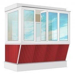 Остекление балкона ПВХ Exprof с выносом и отделкой вагонкой без утепления 2.4 м П-образное