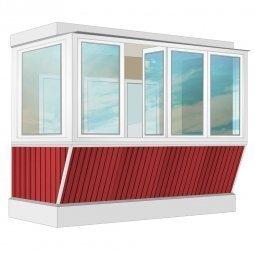 Остекление балкона ПВХ Exprof с выносом и отделкой ПВХ-панелями без утепления 3.2 м Г-образное